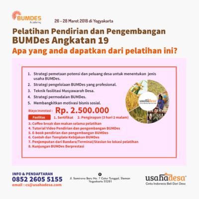 Pelatihan BUMDes Academy 19 | 26 – 28 Maret 2018 di Yogyakarta